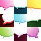 Set of colourful speech bubbles