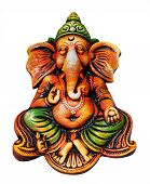 Beautiful, Artistic, & Colorful Ganesha Idol Who Is One Of The Most Popular Hindu Gods Isolated On W