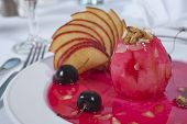 Baked Apple Dessert In Cherry Sauce