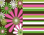 Retro Flowers And Stripes Background