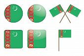 Badges With Flag Of Turkmenistan