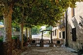 Scenic Patio Of The Small Spanish  Countryhouse. Near The Monastery De Poblet In Spain
