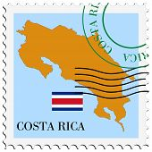 stamp with map and flag of Costa Rica