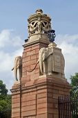 stock photo of rashtrapati  - Gatepost with stone carved elephants - JPG