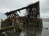 stock photo of shipwreck  - The Peter Iredale was a four - JPG