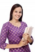 Indian Female Student With Books