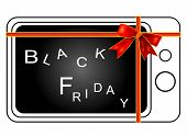 Retro Television Tied with A  Red Ribbon for Start Black Friday