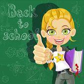 Banner - regreso a la escuela - linda chica en el tablero listo para aprender