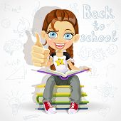 Joyful schoolgirl reading a book while sitting on a pile of books. Banner - back to school