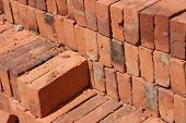 Adobe Bricks Piled in a Brickyard