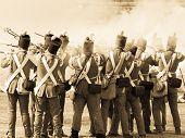 Redcoat soldiers in battle