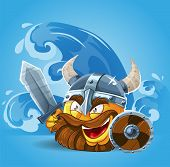 Smile Viking in helmet with sword and shield