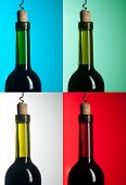 Bottle With Red Wine On Differend Backround
