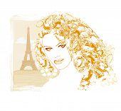 Beautiful Women Shopping In Paris - Vector Card