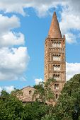 stock photo of ferrara  - Bell tower and detail of the Church of Pomposa Abbey a Benedictine monastery in the province of Ferrara Italy - JPG