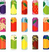Isolated Juice Cans