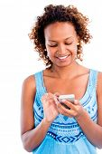 Woman using app on a smart phone - isolated over white background