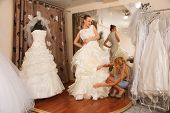 Two Girlfriends In Bridal Boutique