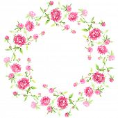 painted watercolor wreath of pink peonies
