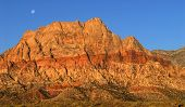 Moon Over Red Rock Canyon, Nevada At Sunrise