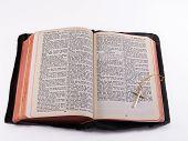 image of atonement  - kjv bible opened to matthew 28 - JPG