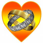 stock photo of two dollar bill  - Marriage for love and for money - JPG