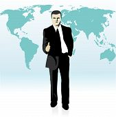 Businessman  Stretching Out His Hand In Front Of The World`s Map.eps