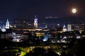 Full Moon Illuminates Lvov City At The Night