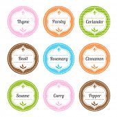 Collection of Elegant Colorful Spice Labels With Decorative Patterns