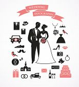 stock photo of tandem bicycle  - wedding vector set with graphic elements - JPG
