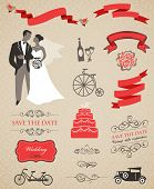 foto of tandem bicycle  - wedding vector set with graphic elements - JPG