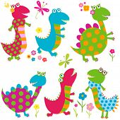 dinos set, happy cute colorful dinosaurs