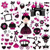 aggressive style fashion princess set with castle and other cute elements in black and red