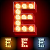 Vector illustration of realistic old lamp alphabet for light board. Red Gold and Silver options. Letter E