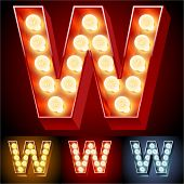 Vector illustration of realistic old lamp alphabet for light board. Red Gold and Silver options. Letter W