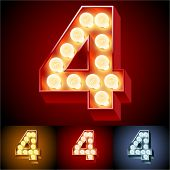 Vector illustration of realistic old lamp alphabet for light board. Red Gold and Silver options. Number 4