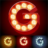Vector illustration of realistic old lamp alphabet for light board. Red Gold and Silver options. Letter G