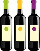 stock photo of wine bottle  - vector illustration of different wine bottles set - JPG
