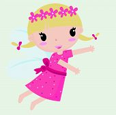 stock photo of tinkerbell  - Illustration of a cute little fairy girl - JPG