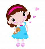 A little girl with teddy bear