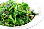 Stir Fried Of Chianease Kale Vegetables With Pork