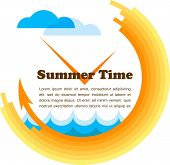 summer time, yellow clock with place for your text