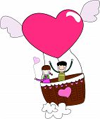 Girl and boy in hot air balloon