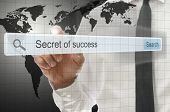 Secret Of Success Written In Search Bar