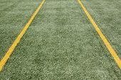 Two yellow strips on green turf