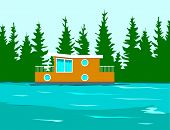 stock photo of houseboats  - Houseboat on the side of a river - JPG
