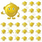stock photo of angry smiley  - Set of round golden smileys with hands and feet - JPG