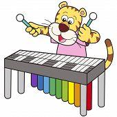 Cartoon Tiger Playing A Vibraphone
