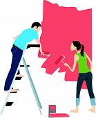 Vector illustration of young adult couple painting interior wall of house.