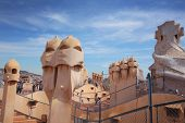 BARCELONA, SPAIN - MAY 7: Casa Mila or La Pedrera on May 7, 2013 in Barcelona, Spain. This famous bu